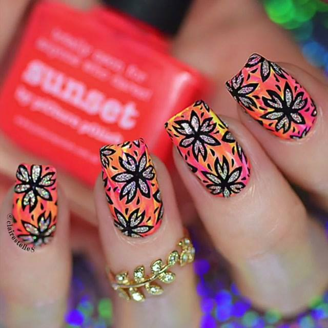 Unha Decorada Colorida, Com Flores Com Glitter, Olha Só Que Lindas!!!