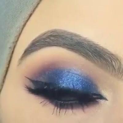 Tutorial De Sombra Azul Com Esfumado Roxo E Delineado, Uma Combinação Perfeita!