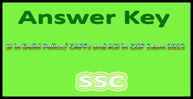 SSC SI Delhi police answer key paper 2 2015
