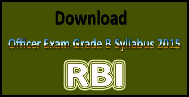 RBI grade b syllabus 2017 Pdf