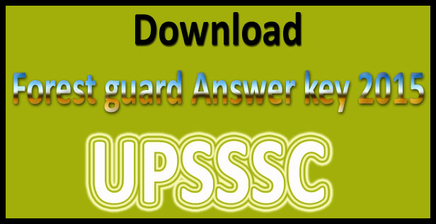 UP forest guard answer key 2015