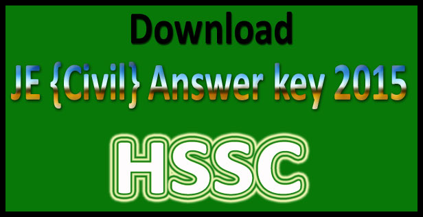 HSSC JE answer key 2015