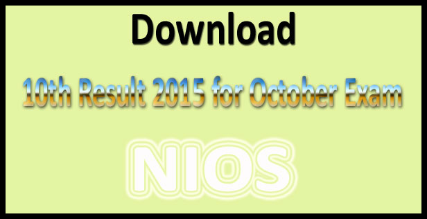 NIOS 10th October result 2015