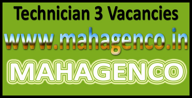 MAHAGENCO technician 3 recruitment 2016