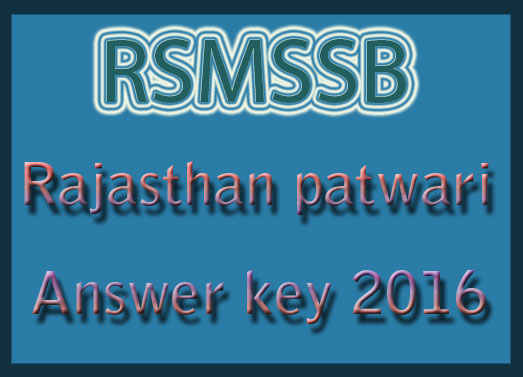 Rajasthan Patwari answer sheet 2016