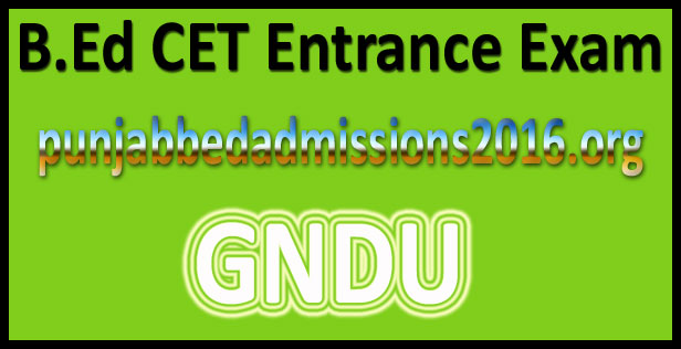 Punjab B.Ed Entrance Admit Card 2016