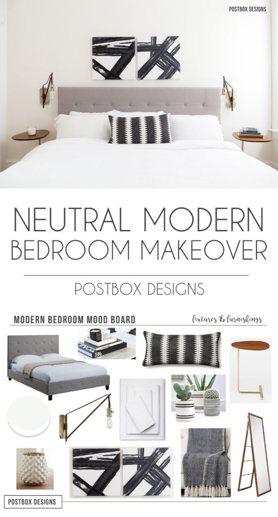 Neutral Modern Boho Bedroom Makeover Reveal See The Before And Afters Postbox Designs