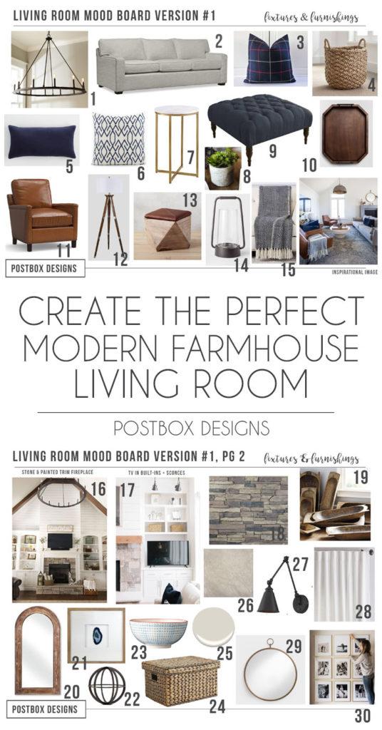 Postbox Designs Interior E-Design: Farmhouse Meets Modern Living Room Makeover, Modern Farmhouse Decor,