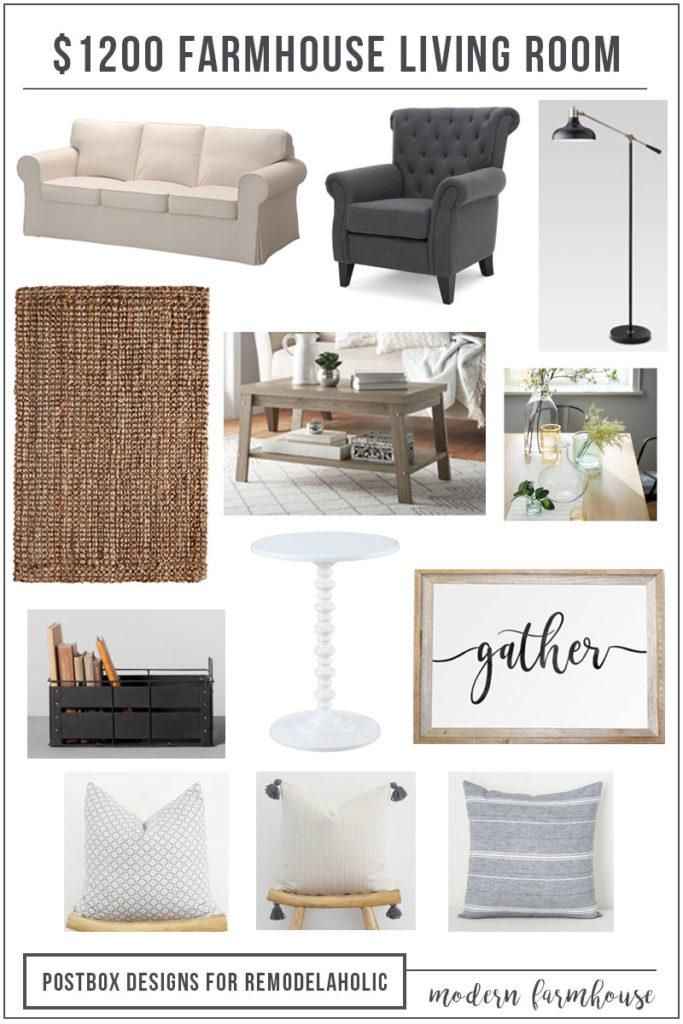 1200 Modern Farmhouse Living Room Free Mood Board Shopping List Postbox Designs