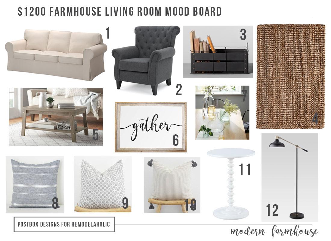 $11 Modern Farmhouse Living Room + Free Mood Board & Shopping