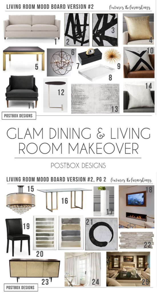 Glam Neutral Living Room Dining Room Makeover 2 Different Ways Postbox Designs