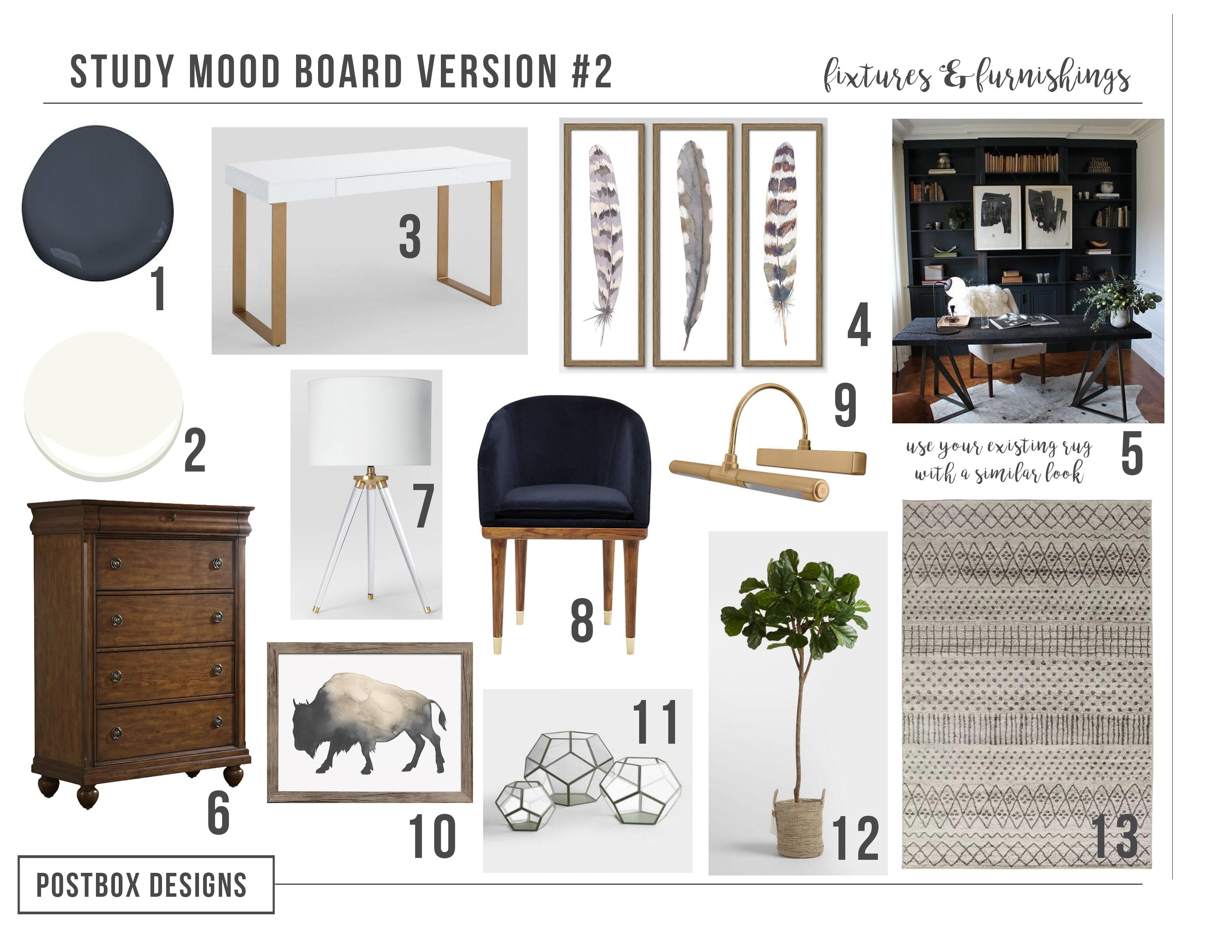 Postbox Designs Interior E Design: Home Office Design With Navy Shelves,  Study Decor