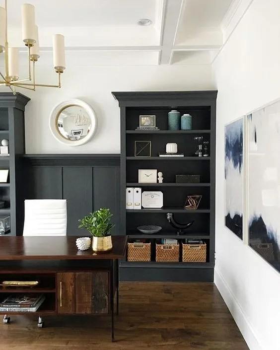 Home Office And Studio Designs: Trend Alert: Home Office Navy Built-ins + Real Study
