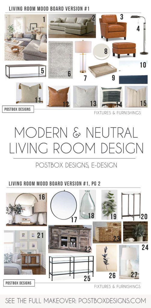 Postbox Designs Interior E-Design: 5 Ways to Create a Neutral Living Room Design, modern neutral living room decor, neutral family room via Online Interior Design, neutral home decor