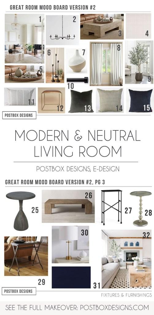 Postbox Designs, Interior E-Design: Creating a Modern Neutral Living Room Design, Neutral Living Room Decor, Neutral Modern Family Room Design via Online Interior Design