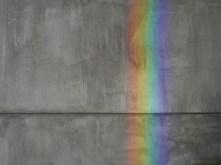 Refracted Rainbow on Grey Wall