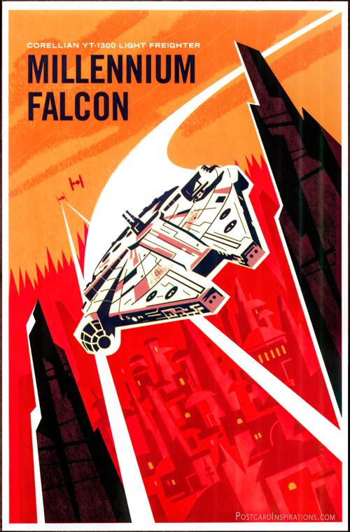 Despite her humble origins and shabby exterior, the Millennium Falcon has played a role in some of the greatest victories of the rebel alliance. The fountain looks like a worn-out junker, but beneath her hull she's full of surprises and adventures.