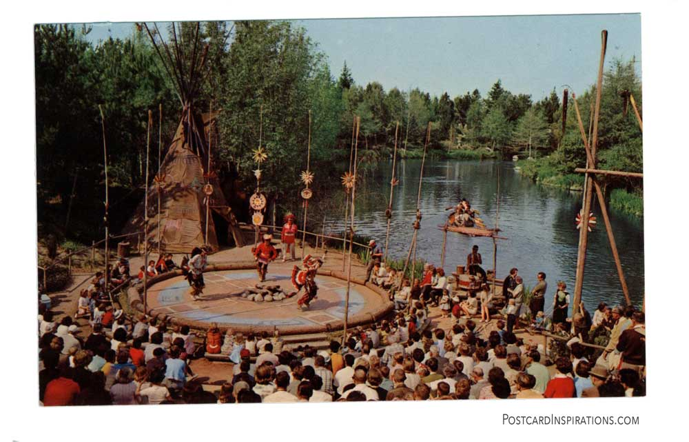 In Frotierland's Indian Village along the banks of the Rivers of America, hearty braves in their colorful native costumes entertain Disneyland's guests with authentic dances to the throbbing beat of Indian drums.