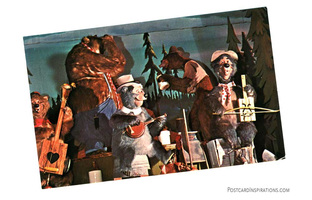 A real foot-stopin' hoe down featuring the Five Bear Rugs, greets visitors to Frontierland's Country Bear Jamboree.