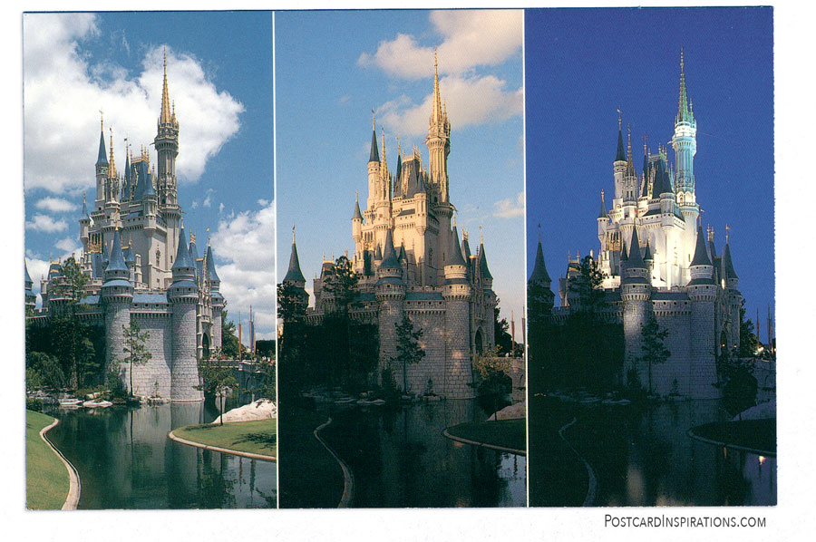 As day turns into night. Cinderella Castle undergoes a magical transformation. (Postcard)