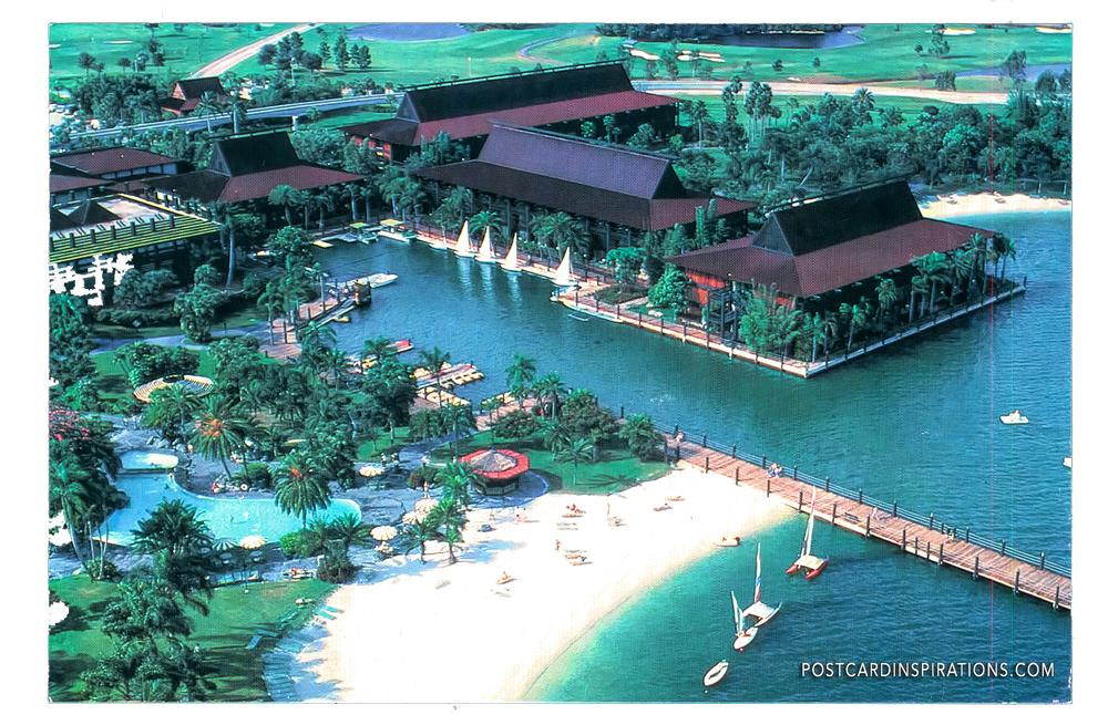 Polynesian Village Resort (Postcard) ... Lush tropical gardens around 11 native longhouses containing 855 rooms. Guests enjoy swimming, boating, and acres of white sand. At night, native dancers entertain at grand luaus.