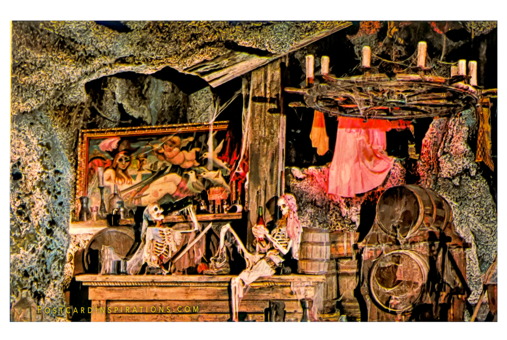 "A Privateer's Party (Postcard) Lost forever in deep dark caverns, two souls have all the ""comforts"" of home at Adventureland Pirates of the Caribbean."