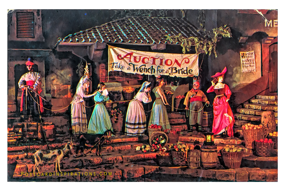 Take A Wench For A Bride (Postcard)  After looting and plundering a captive city, fun loving pirates hold an auction… pirate style.  And everything goes to the highest bidder, from five bawdy wenches to two skinny goats.