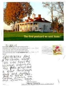 The first postcard we sent home -- From Mt. Vernon. www.postcardjar.com