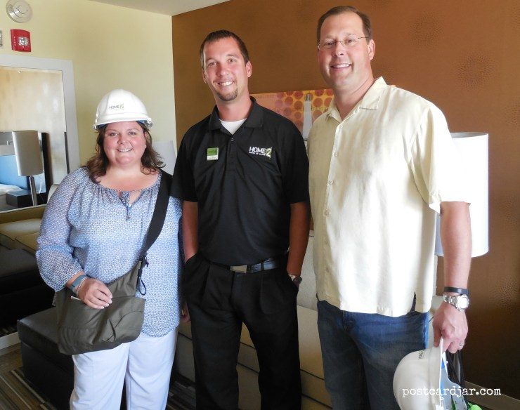 Our hard hat tour with Home2 Suites General Manager DJ Miller. (Photo by Tim Trudell of The Walking Tourists)