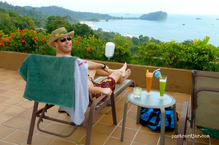 Steve had a glorious day of relaxation at Manuel Antonio Beach in Costa Rica. (Photo by Ann Teget for postcard jar.com)
