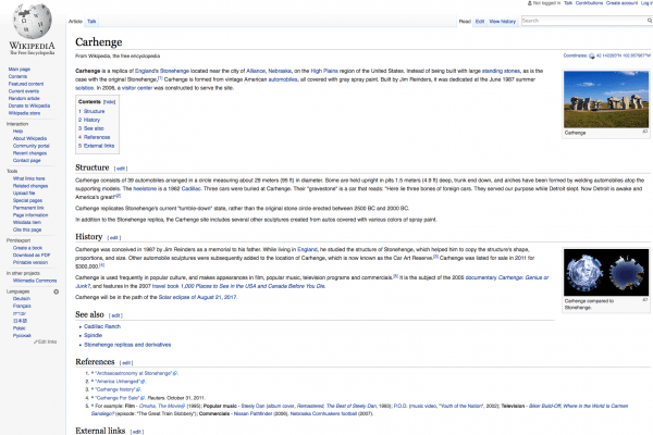I love how Wikipedia includes sections on structure and history and shows aerials of the two sites side-by-side.