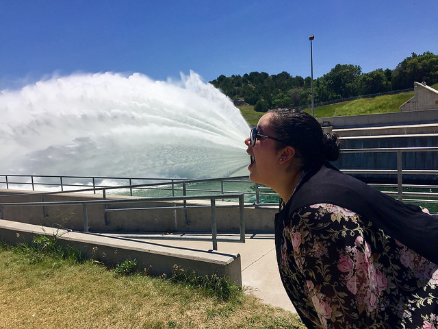 Meghan had a great idea for a funny photo at the dam at Lake McConaughy.