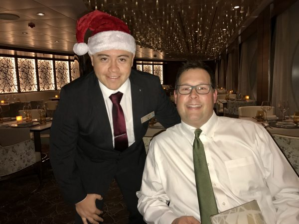 Gustavo and Steve at dinner in Luminae on Christmas Day.