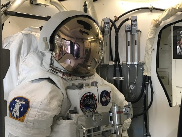 A space suit at Space Center Houston