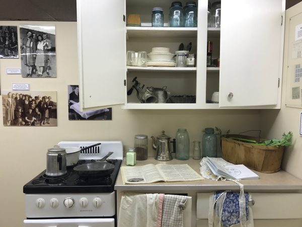This replica of a 1940s kitchen showed the types of dishes and equipment used to make food for the North Platte Canteen.