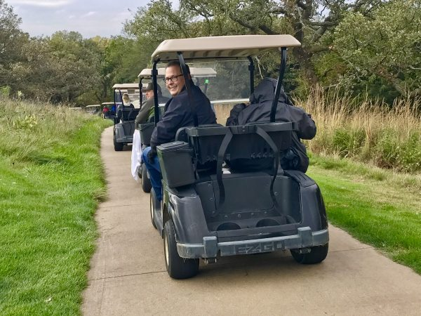 Steve and I volunteered as drivers as we toured Quarry Oaks Golf Course with residents and families impacted by Alzheimer's.