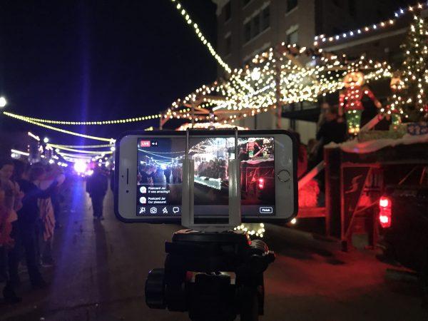 Filming the Christmas Parade of Lights, Pawhuska, Oklahoma