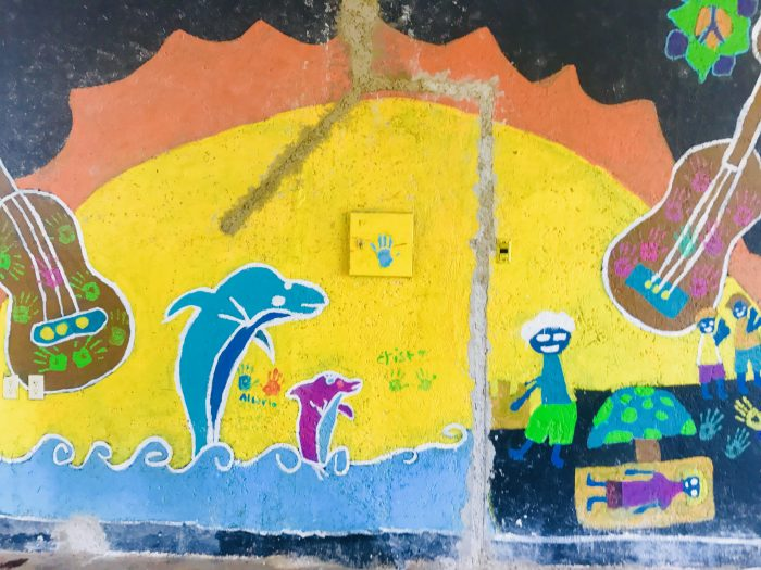 It was pretty overcast when we were in Mexico but colorful murals like this one brightened our day.