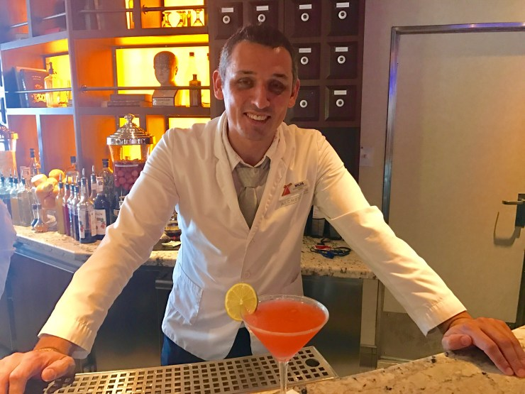 Master mixologist Milos at the Alchemy Bar onboard the Carnival Valor.