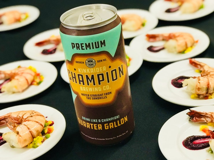 We tried several beers at Kinkaider Brewing in Broken Bow, Nebraska, including this Champion, paired with colossal shrimp with a jalapeño mango chutney.