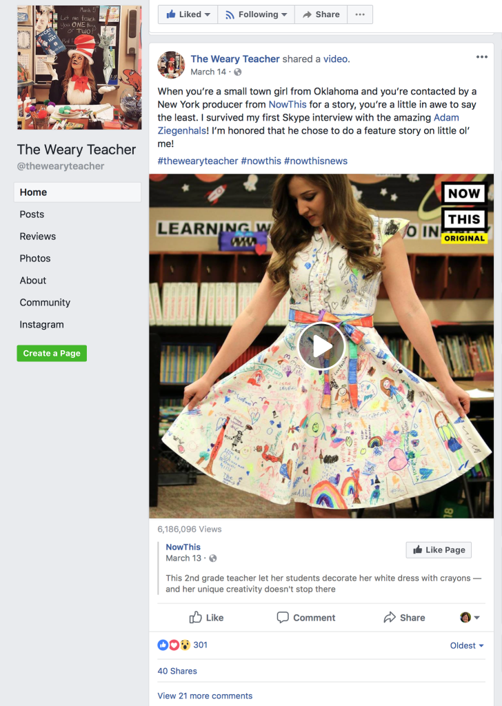 This post about the dress her second graders colored with things that make them happy went viral.