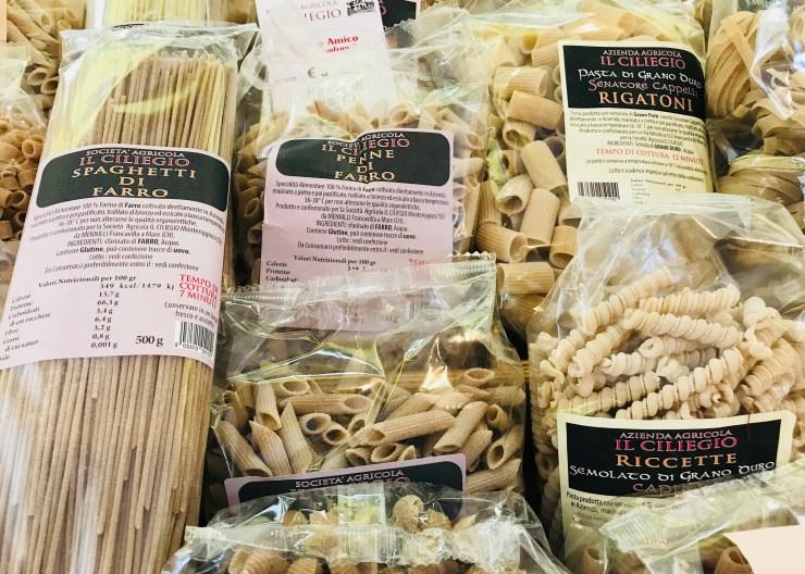 Pasta from the hidden farmers' market, Siena, Italy