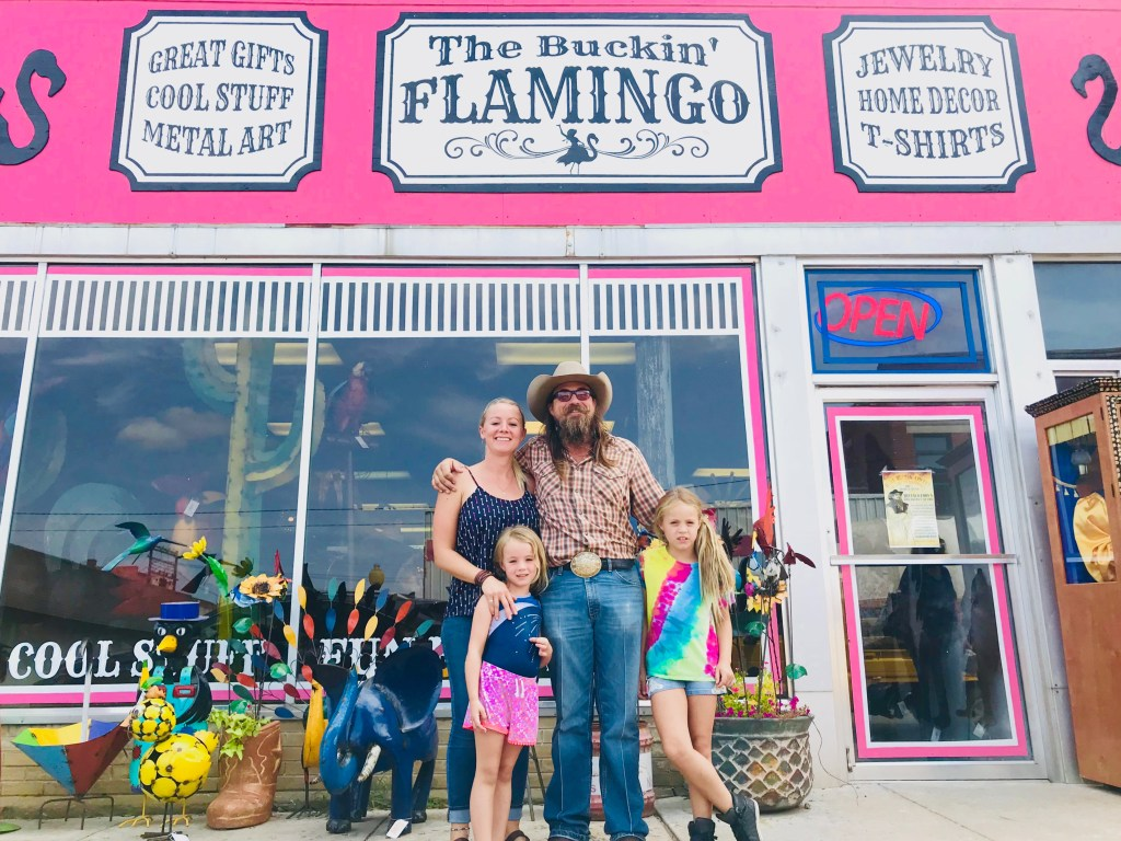 Buckin' Flamingo owners Cody and Lauren and their daughters.