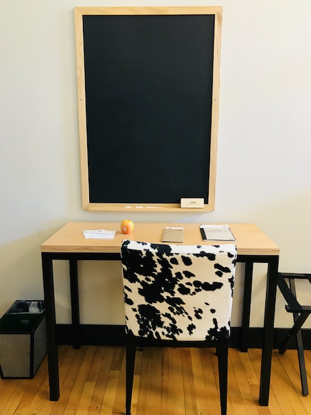 Hotel Grinnell Iowa desk and blackboard