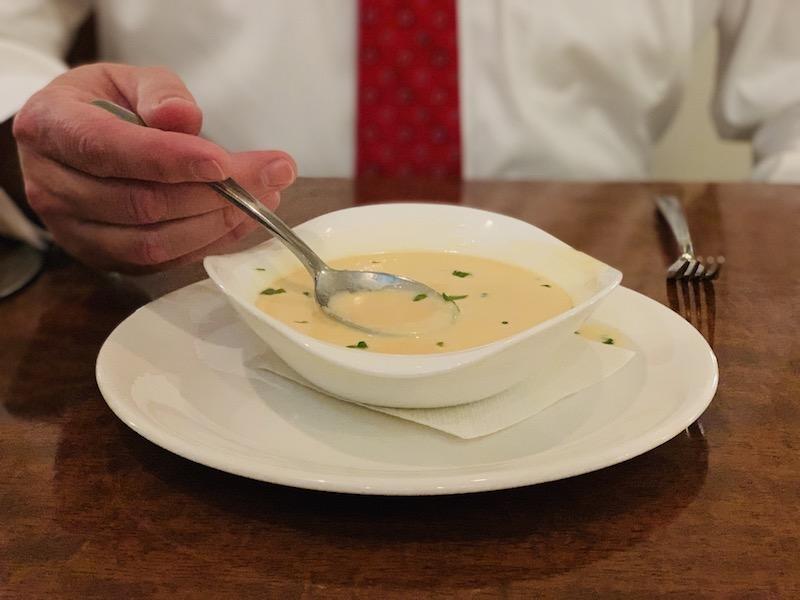 Shrimp with brie and amaretto cream.