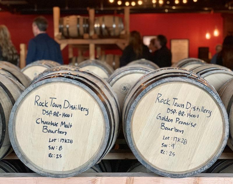 aging barrels at Rock Town Distillery