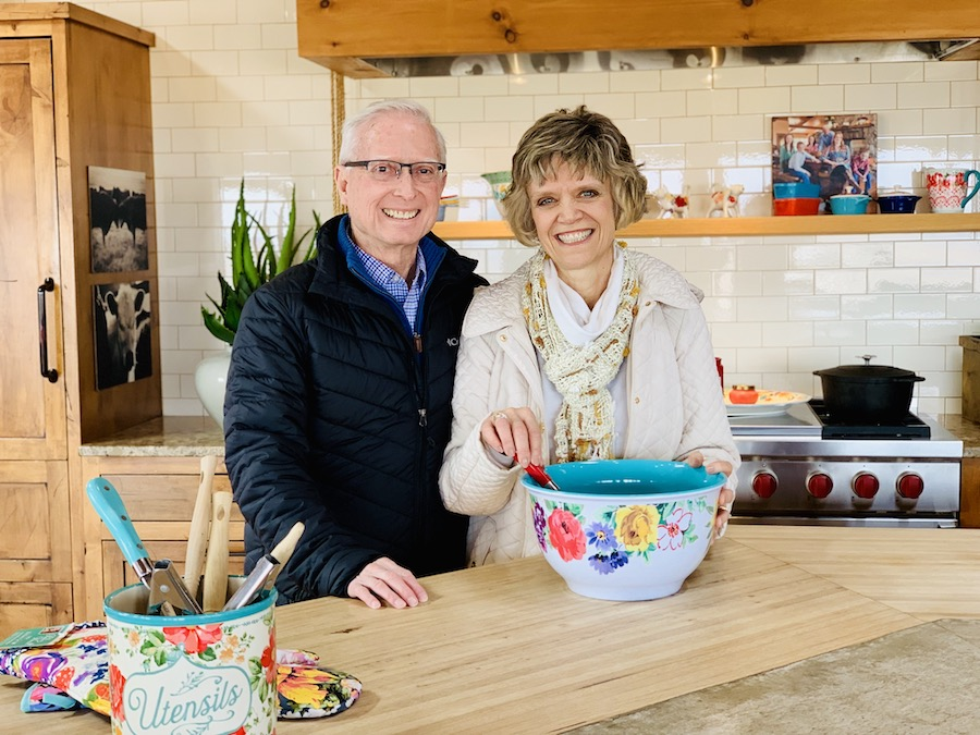 Lodge at Ree Drummond's Ranch couple in kitchen