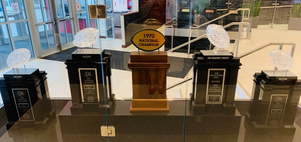 Nebraska national championship trophies onMemorial Stadium tour in Lincoln