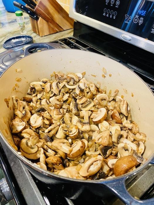 Mushroom sautéing for soup
