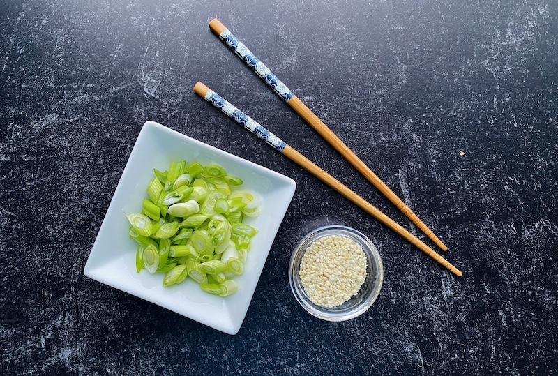 Low calorie egg roll in a bowl toppers
